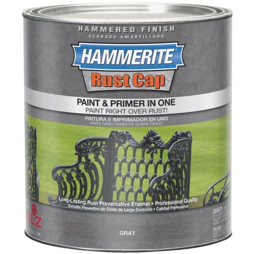 Hammerite Rust Cap Paint & Primer In One Hammered Finish, Gray, 1 Qt.